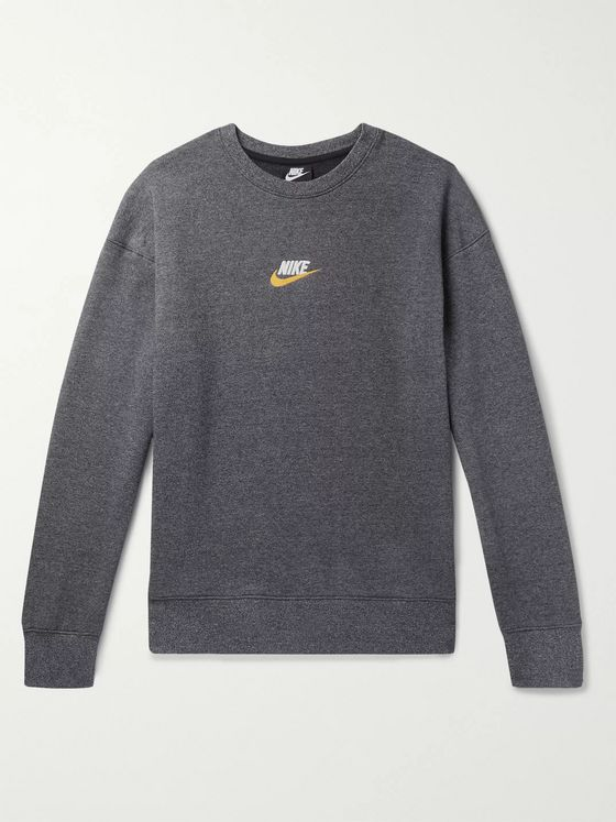 Nike Logo-Embroidered Fleece-Back Mélange Cotton-Blend Jersey Sweatshirt