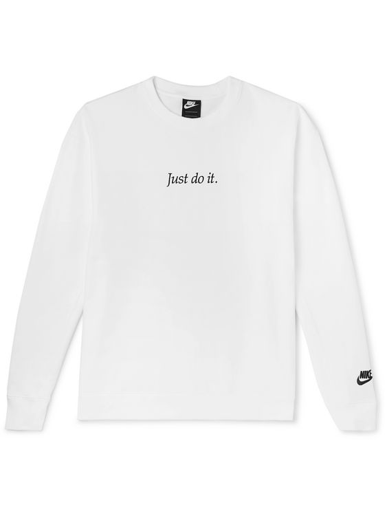 Nike Logo-Embroidered Fleece-Back Cotton-Blend Jersey Sweatshirt