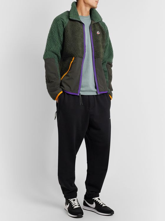 Nike Sportswear Contrast-Tipped Nylon-Trimmed Fleece Jacket