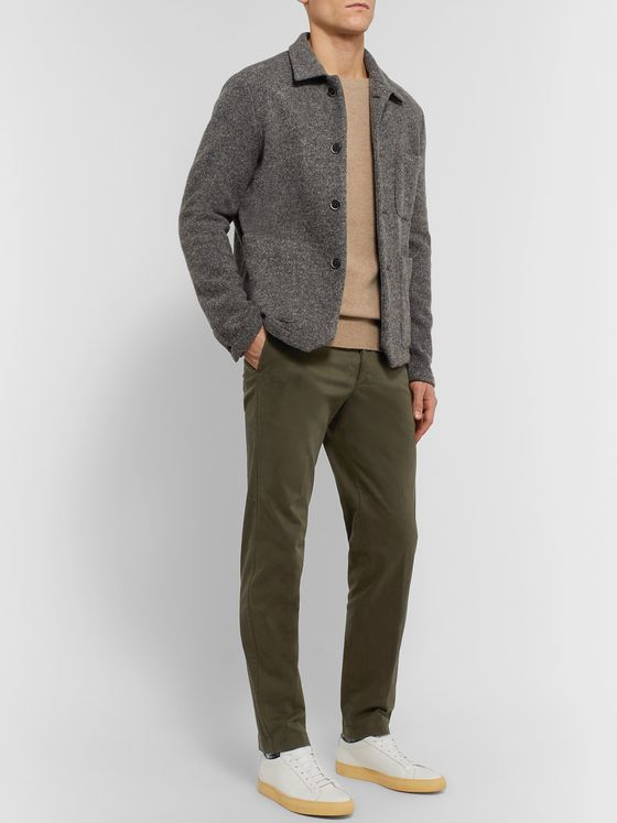 Officine Generale Julian Slim-Fit Garment-Dyed Stretch-Cotton Twill Trousers