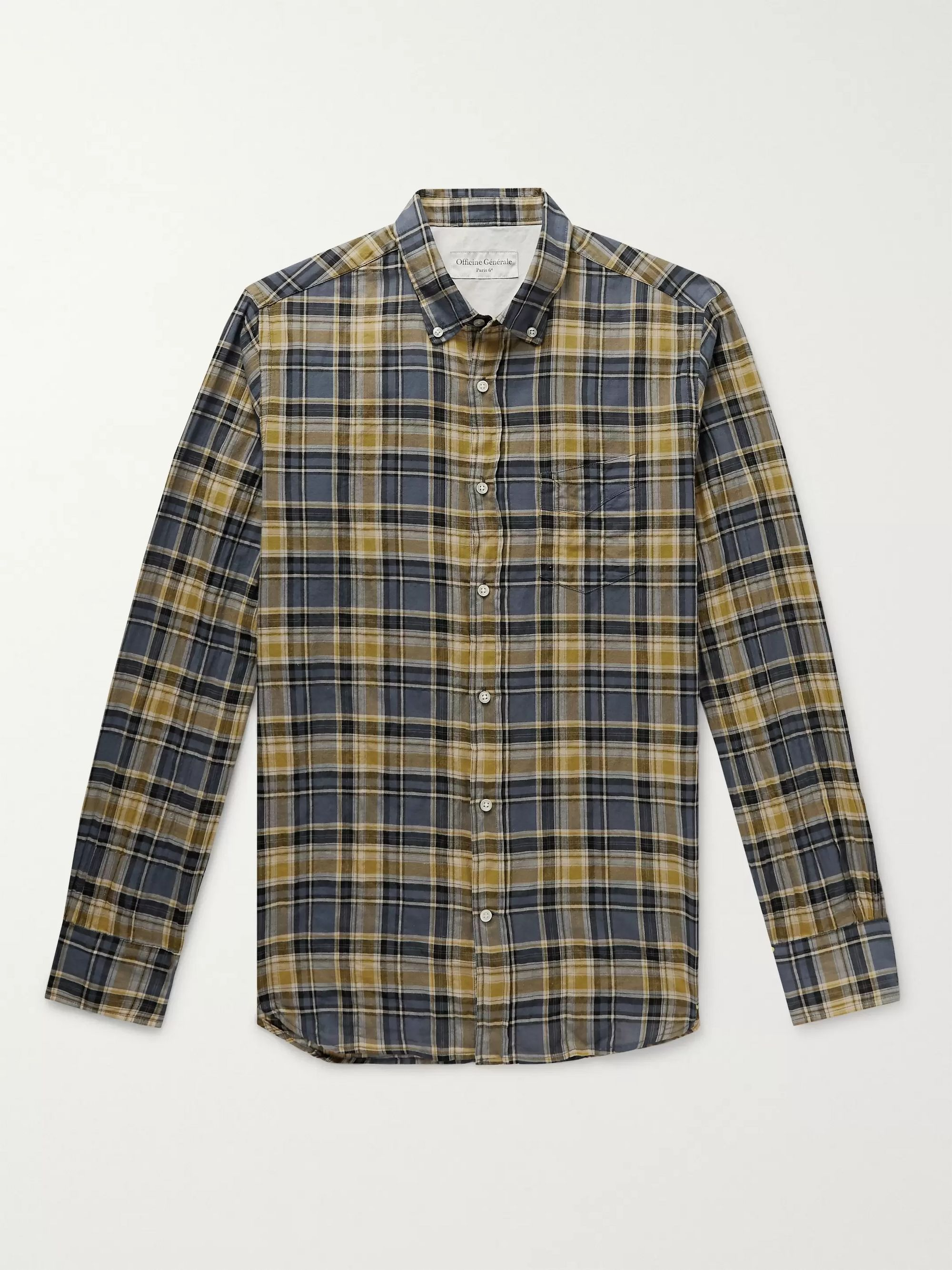 Button Down Collar Checked Cotton Blend Shirt by Mr Porter