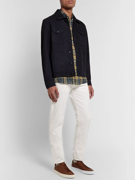 Officine Generale Button-Down Collar Checked Cotton-Blend Shirt