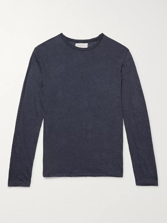 Officine Generale Garment-Dyed Linen T-Shirt