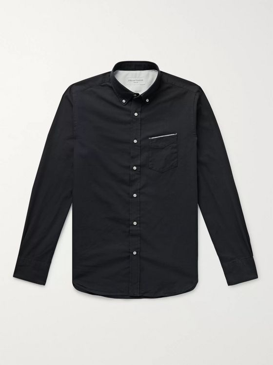 Officine Generale Button-Down Collar Cotton-Chambray Shirt
