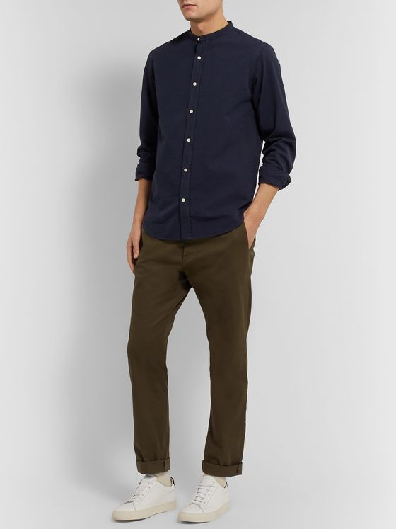 Officine Generale Gaspard Grandad-Collar Cotton-Seersucker Shirt