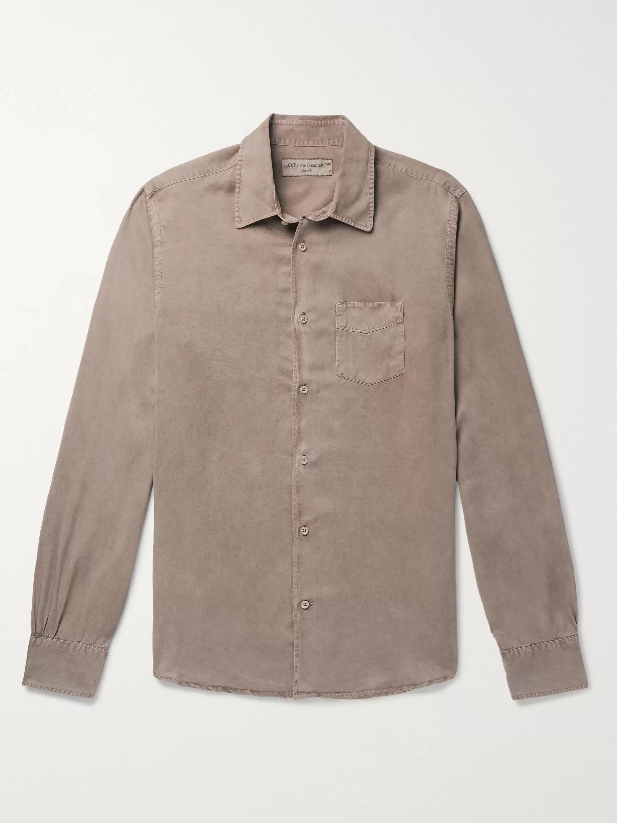Benoit Pigment Dyed Lyocell Shirt by Mr Porter