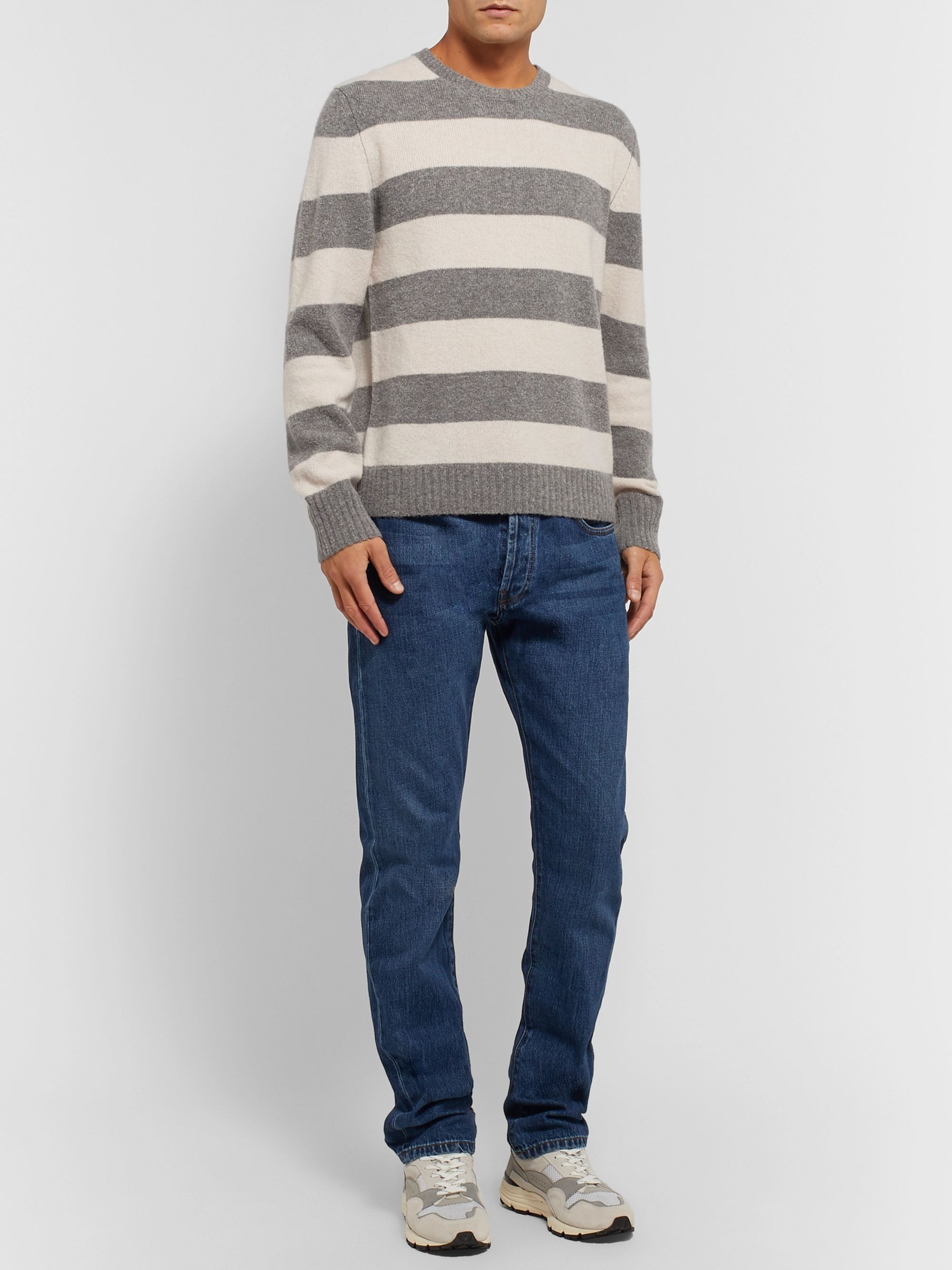 Officine Generale Striped Virgin Wool-Blend Sweater