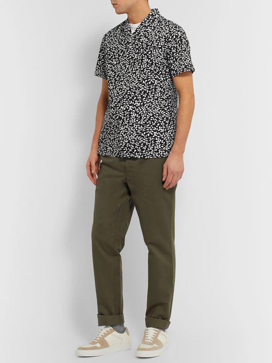 Officine Generale Dario Slim-Fit Camp-Collar Printed Cotton-Seersucker Shirt