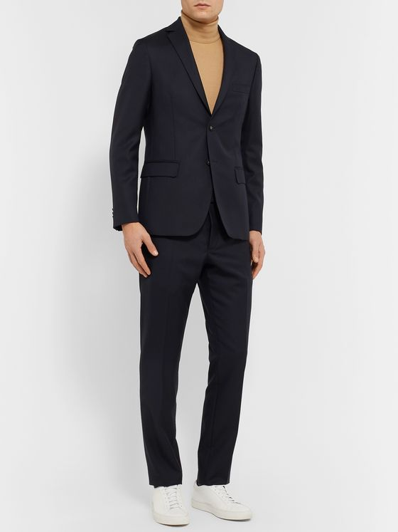 Officine Generale Navy Slim-Fit Wool Suit Jacket