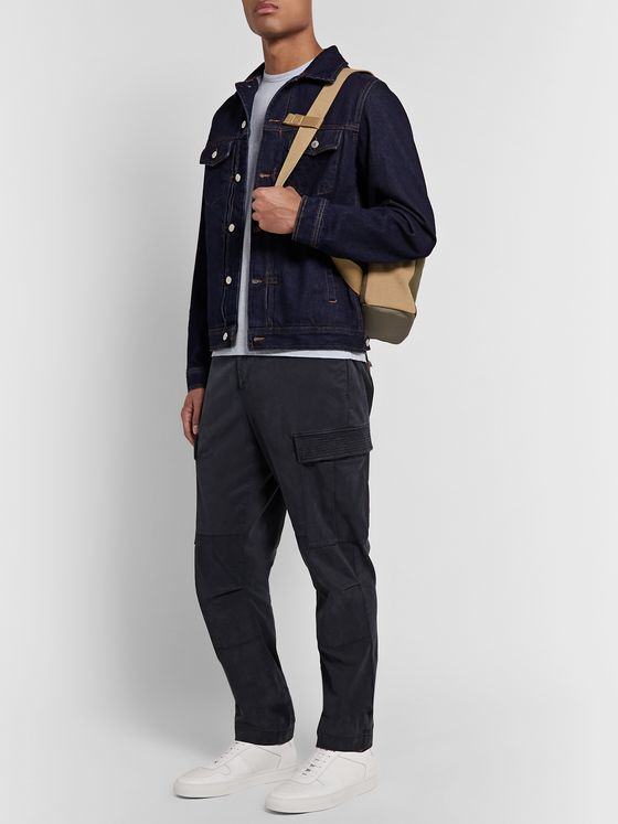 Officine Generale Navy Jay Tapered Garment-Dyed Lyocell-Blend Twill Drawstring Cargo Trousers