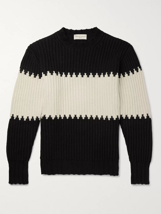 Officine Generale Colour-Block Ribbed Cotton-Blend Sweater