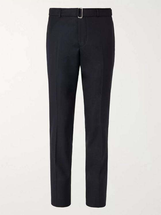 OFFICINE GÉNÉRALE Navy Paul Slim-Fit Belted Super 120s Wool Suit Trousers