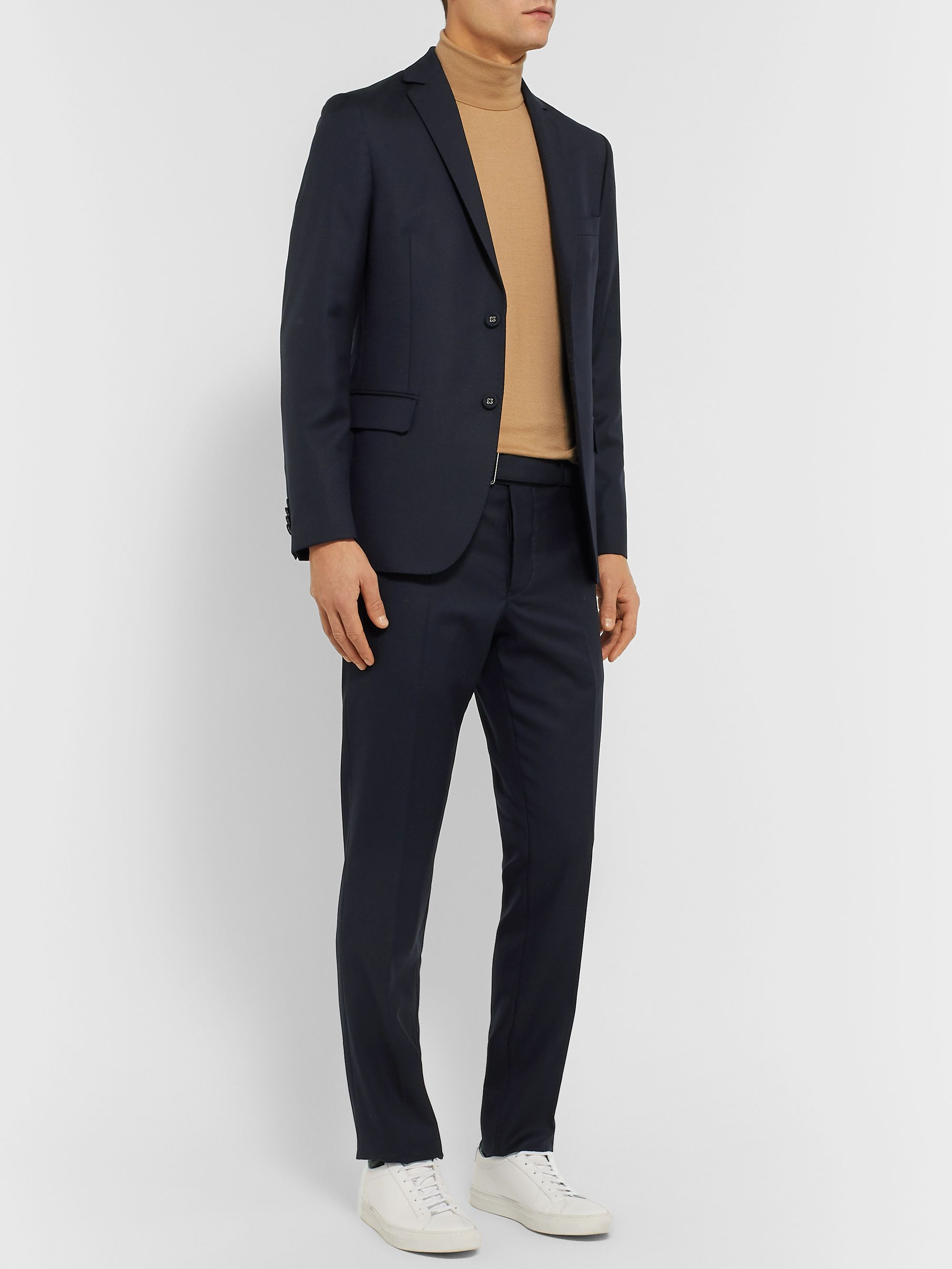 Officine Generale Navy Paul Slim-Fit Belted Super 120s Wool Suit Trousers