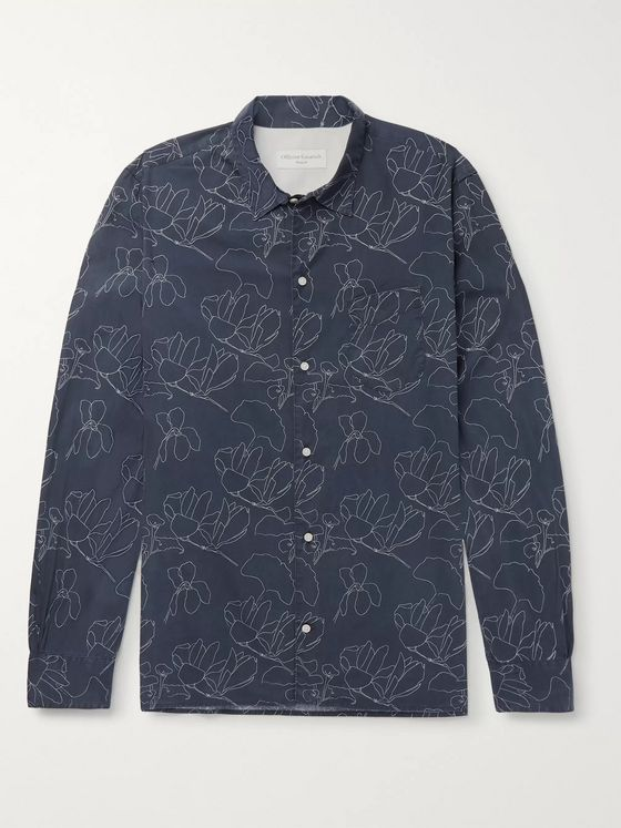 Officine Generale Printed Lyocell and Cotton-Blend Shirt