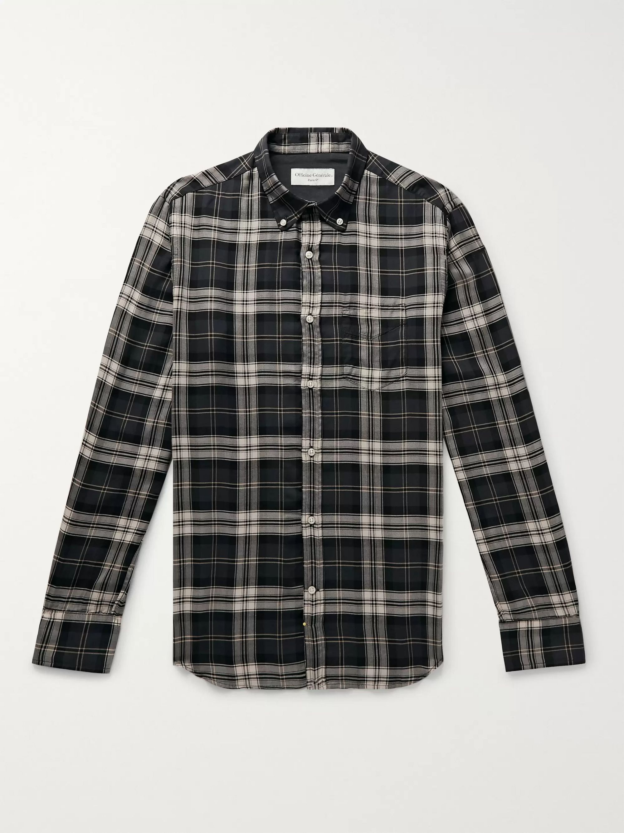 Button Down Collar Checked Lyocell Shirt by Mr Porter