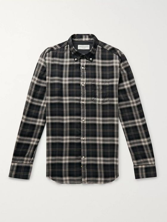 Officine Generale Button-Down Collar Checked Lyocell Shirt