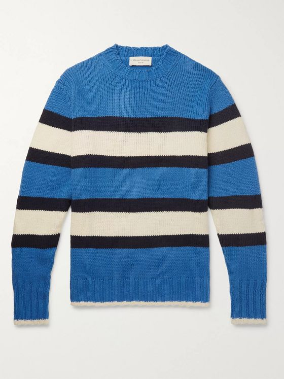 Officine Generale Striped Cotton-Blend Sweater