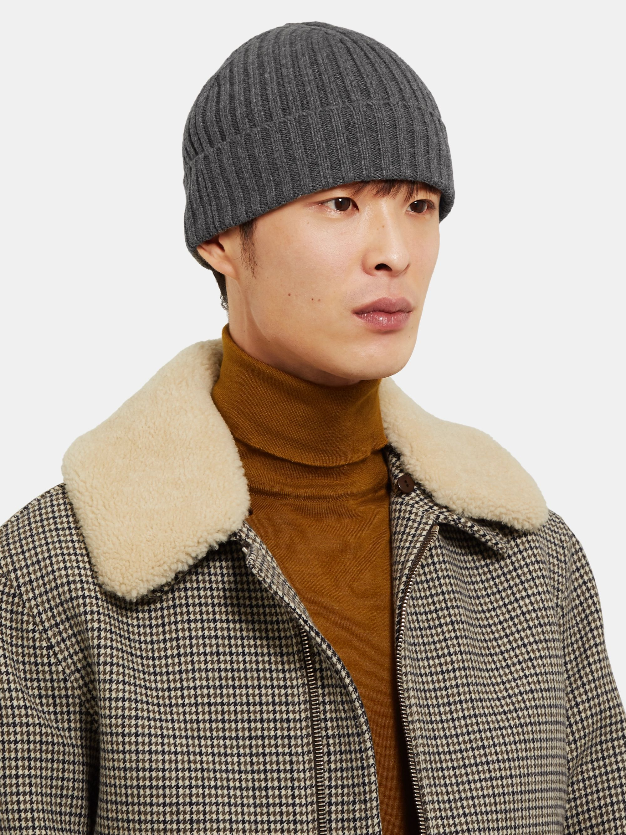 Officine Generale Ribbed Cashmere and Merino Wool-Blend Beanie