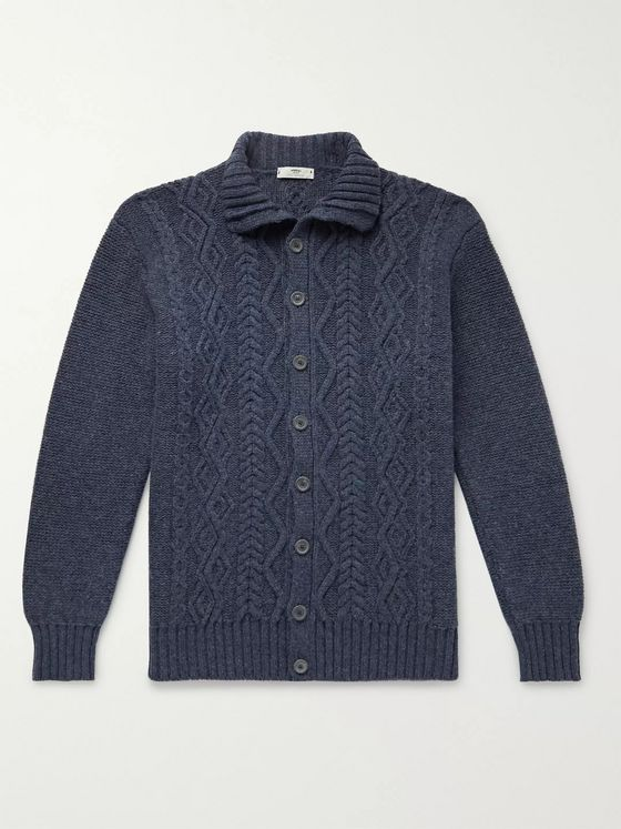 Inis Meáin Cable-Knit Merino Wool Cardigan
