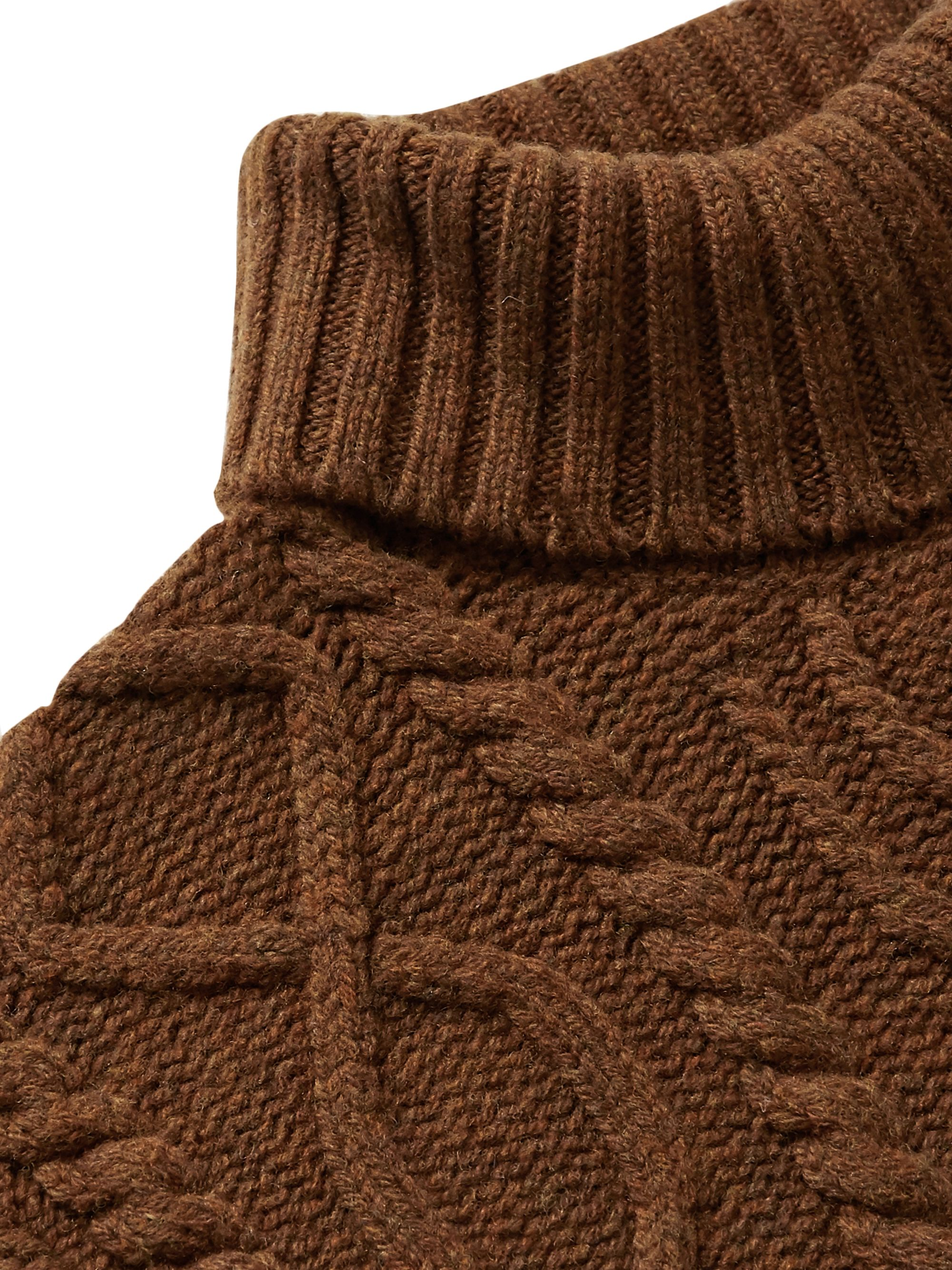 Inis Meáin Celebration Cable-Knit Merino Wool Rollneck Sweater