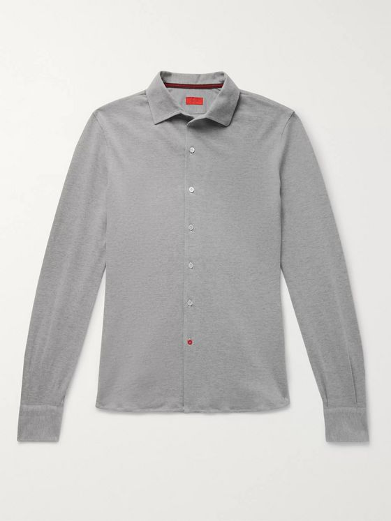Isaia Slim-Fit Cotton-Piqué Shirt