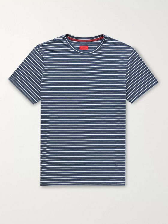 Isaia Mélange Striped Cotton-Jersey T-Shirt