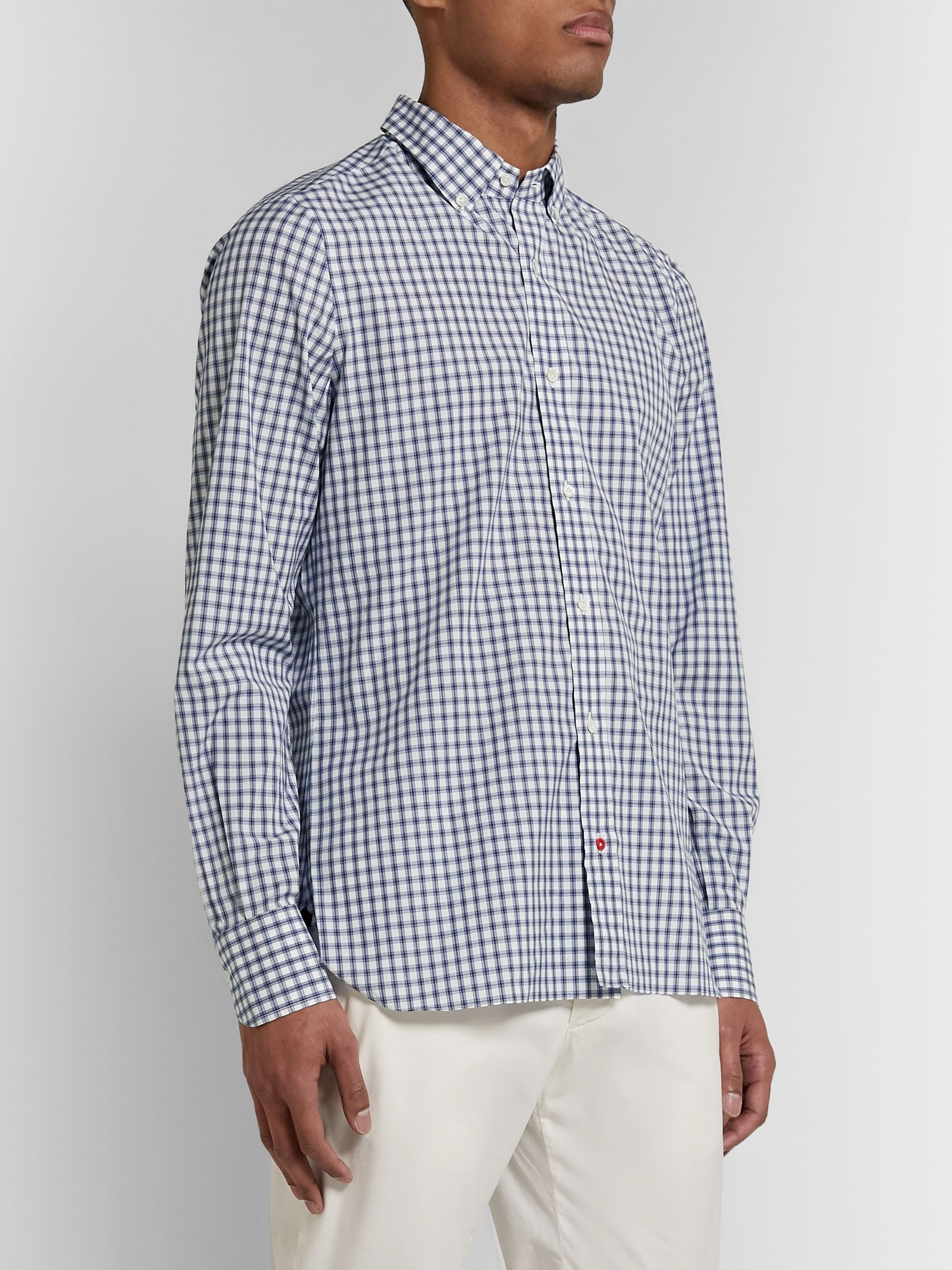 Isaia Slim-Fit Button-Down Collar Checked Cotton-Poplin Shirt