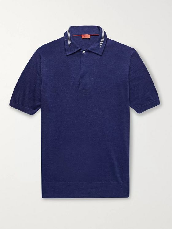Isaia Wool, Silk and Linen-Blend Polo Shirt