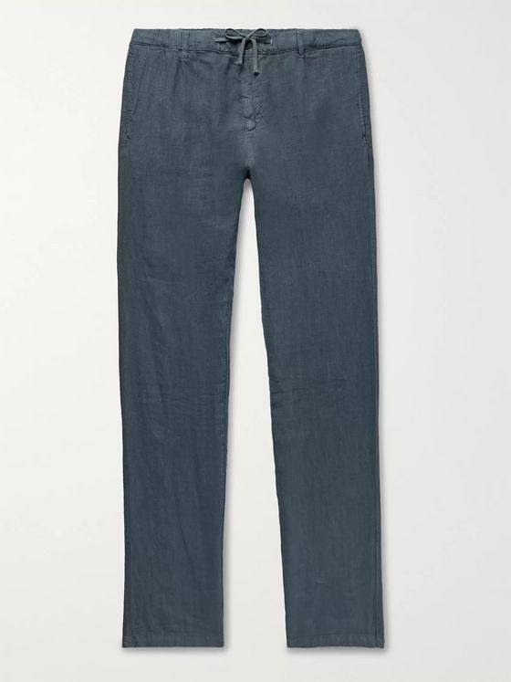 Hartford Navy Linen Drawstring Trousers