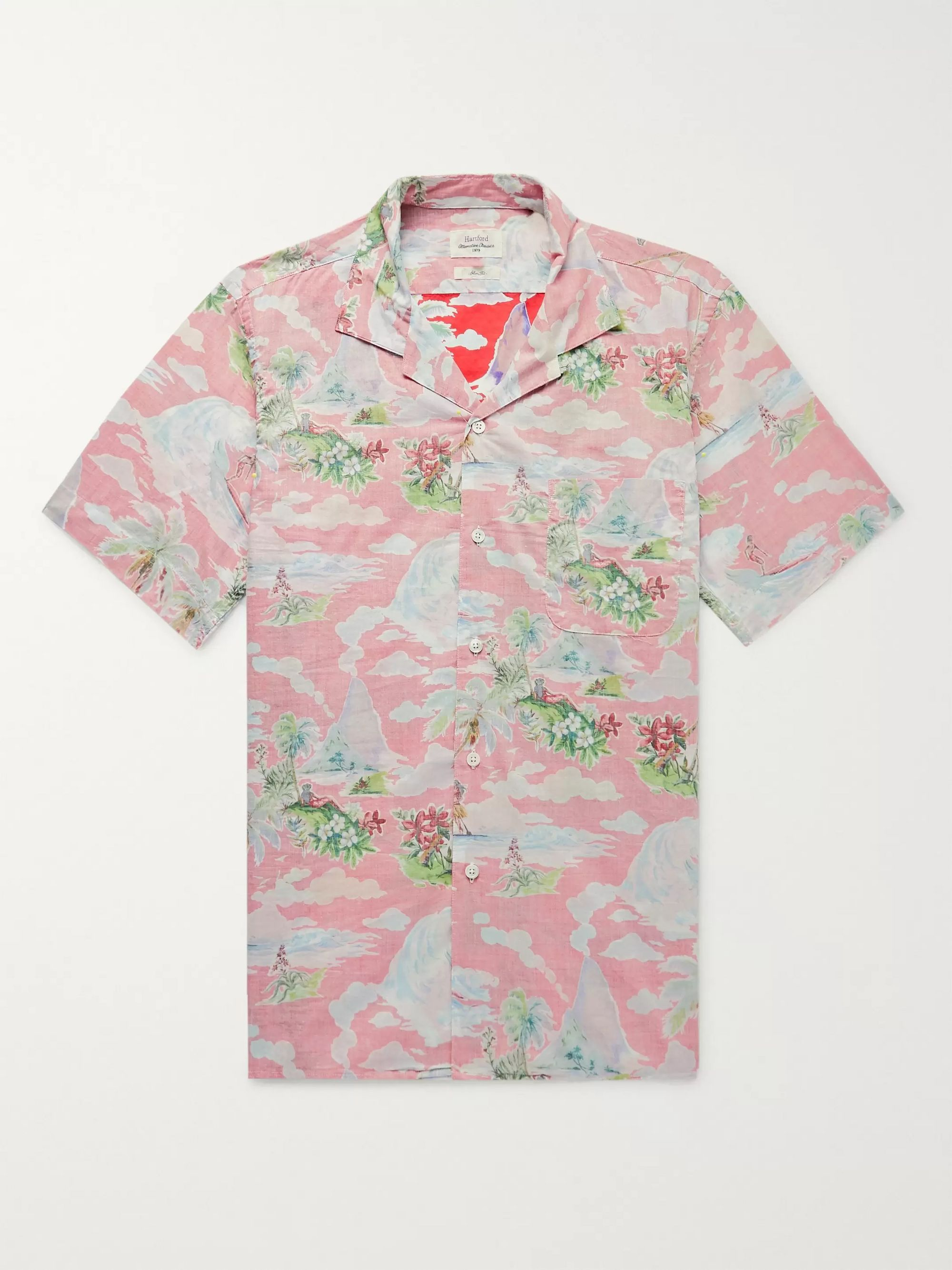 Hartford Slim-Fit Camp-Collar Printed Cotton-Chambray Shirt