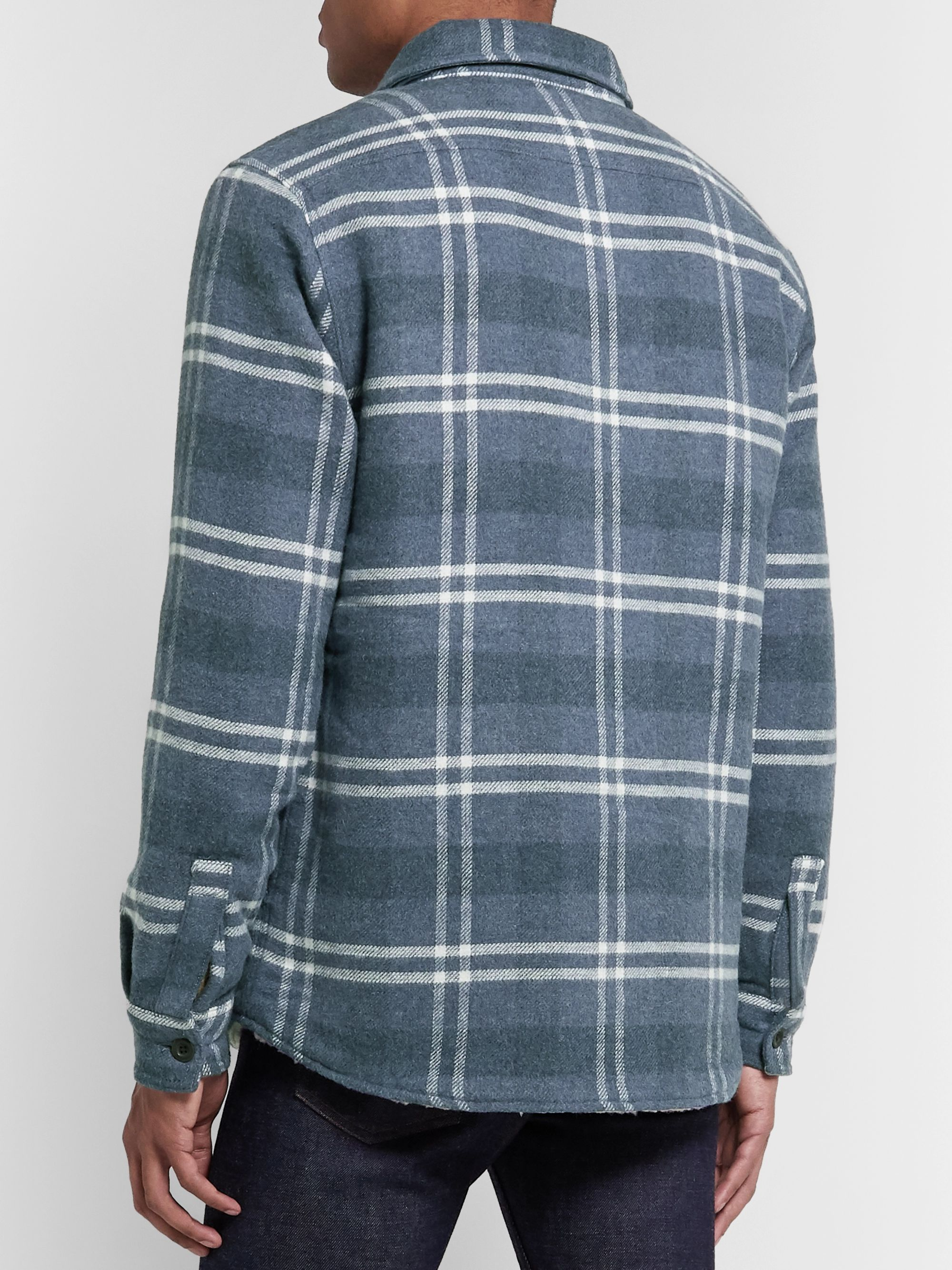 Faherty Faux Shearling-Lined Checked Cotton and Wool Shirt Jacket