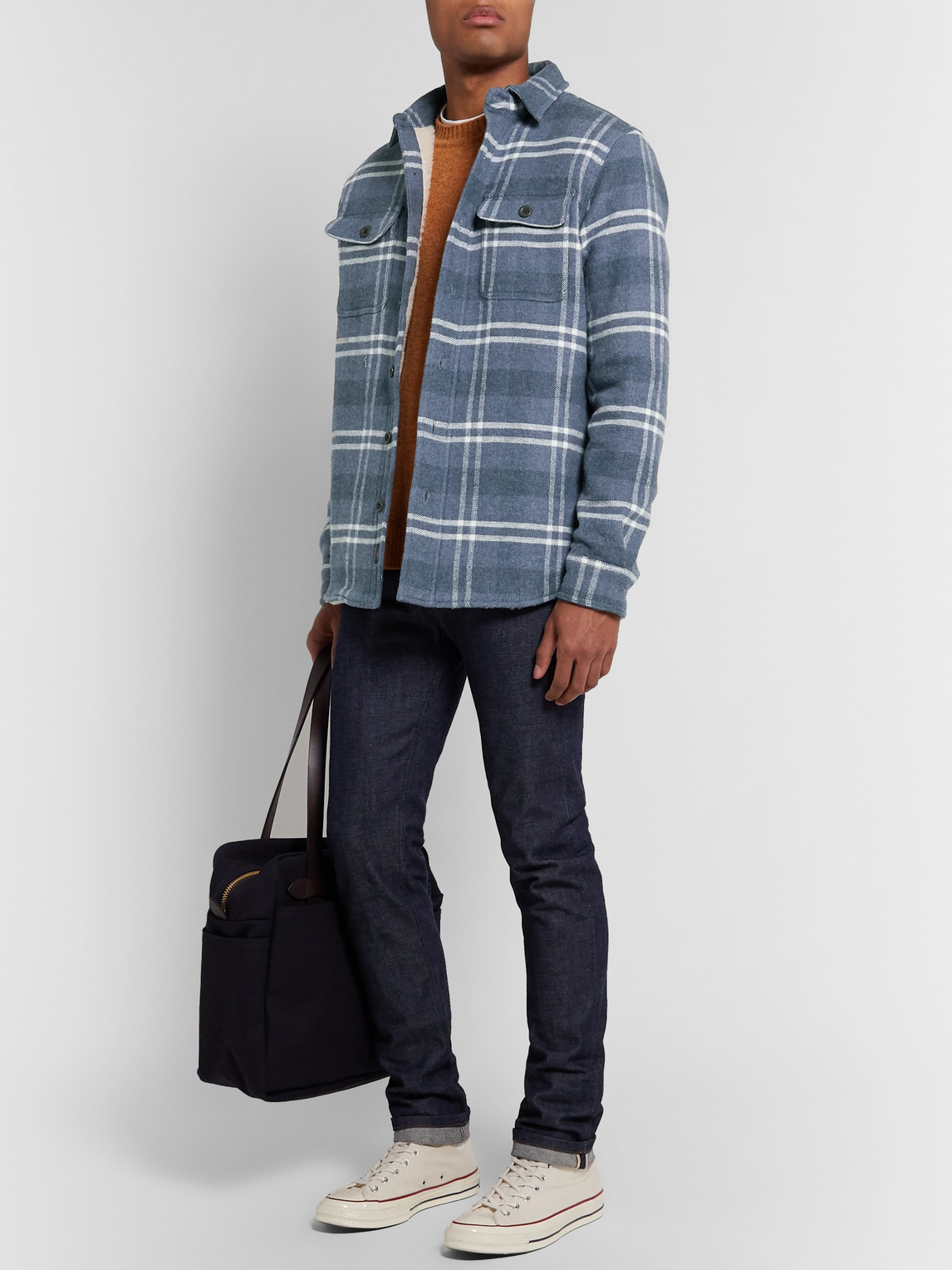 Faherty Jackets FAUX SHEARLING-LINED CHECKED COTTON AND WOOL SHIRT JACKET
