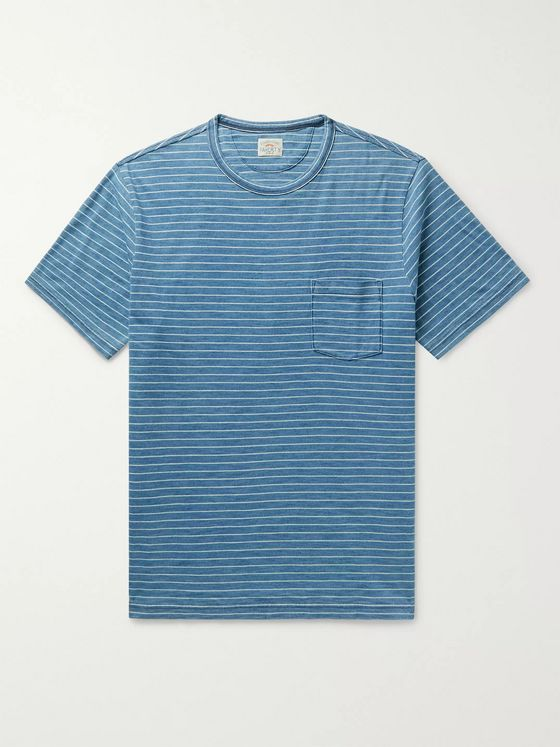 Faherty Striped Indigo-Dyed Cotton-Jersey T-Shirt