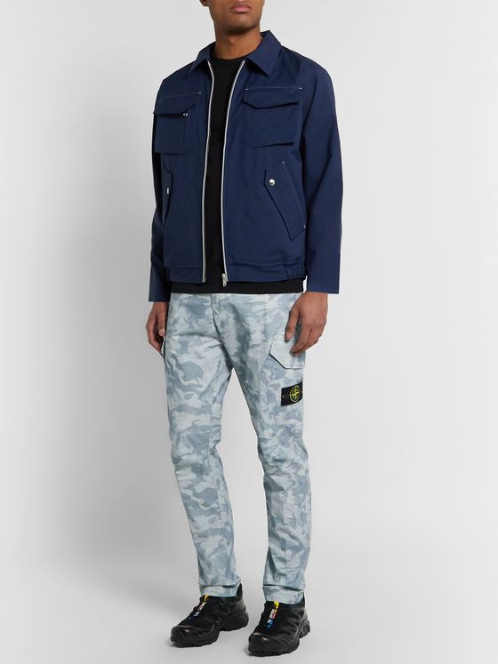 Stone Island Tapered Logo-Appliquéd Camouflage-Jacquard Brushed-Cotton Tela Cargo Trousers