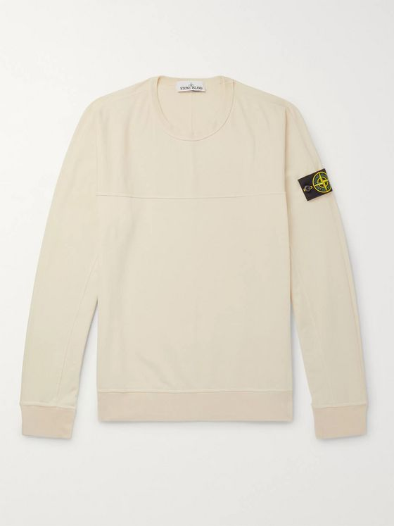 Stone Island Logo-Appliquéd Garment-Dyed Loopback Stretch-Cotton Jersey Sweatshirt