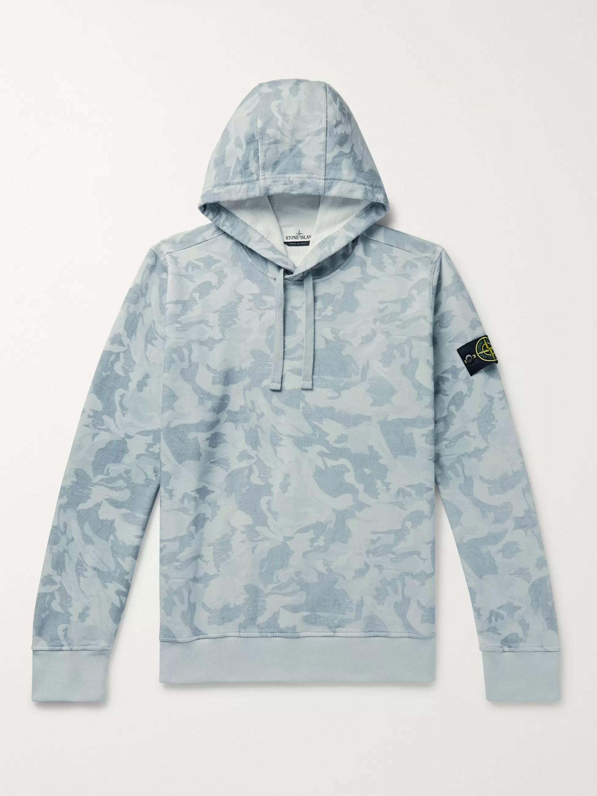 스톤 아일랜드 Stone Island Light blue Logo-Appliqued Camouflage-Print Loopback Cotton-Jersey Hoodie,Light blue