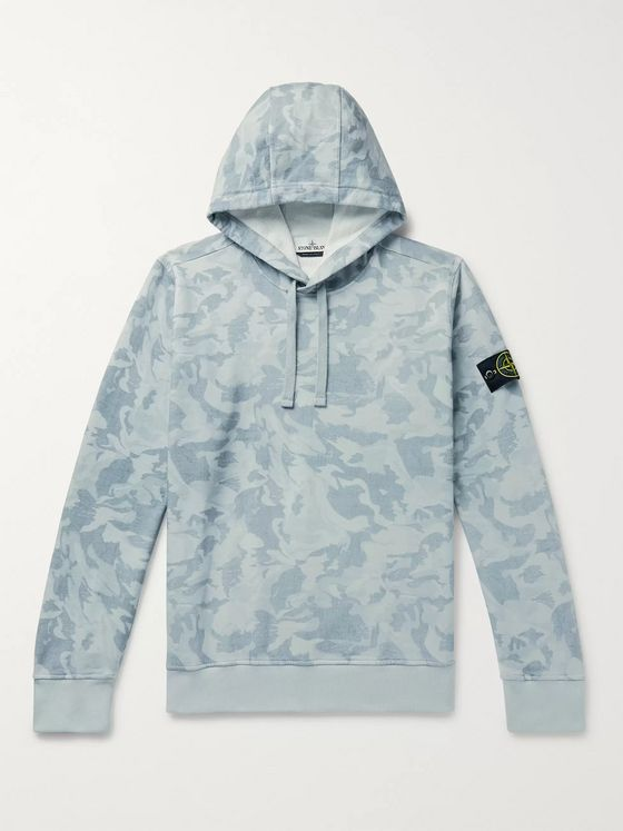 Stone Island Logo-Appliquéd Camouflage-Print Loopback Cotton-Jersey Hoodie