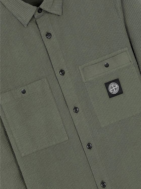Stone Island Logo-Appliquéd Garment-Dyed Cotton-Seersucker Shirt