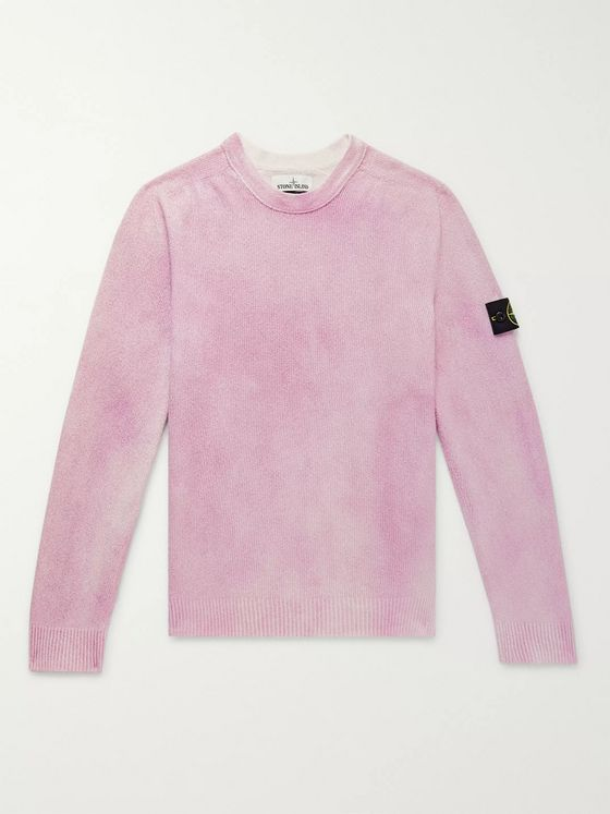 Stone Island Airbrushed Ribbed Cotton-Blend Terry Sweater