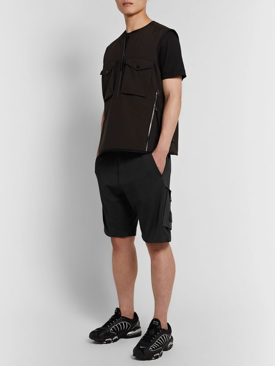 Stone Island Ghost Twill-Panelled Loopback Stretch-Cotton Jersey Shorts