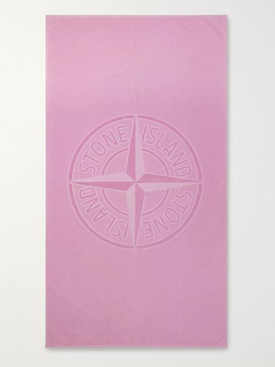 Stone Island Logo-Jacquard Cotton-Terry Beach Towel