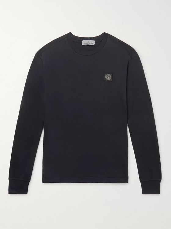 Stone Island Slim-Fit Logo-Appliquéd Garment-Dyed Cotton-Jersey T-Shirt