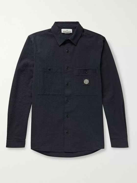 Stone Island Garment-Dyed Logo-Appliquéd Button-Down Collar Cotton-Seersucker Shirt Jacket