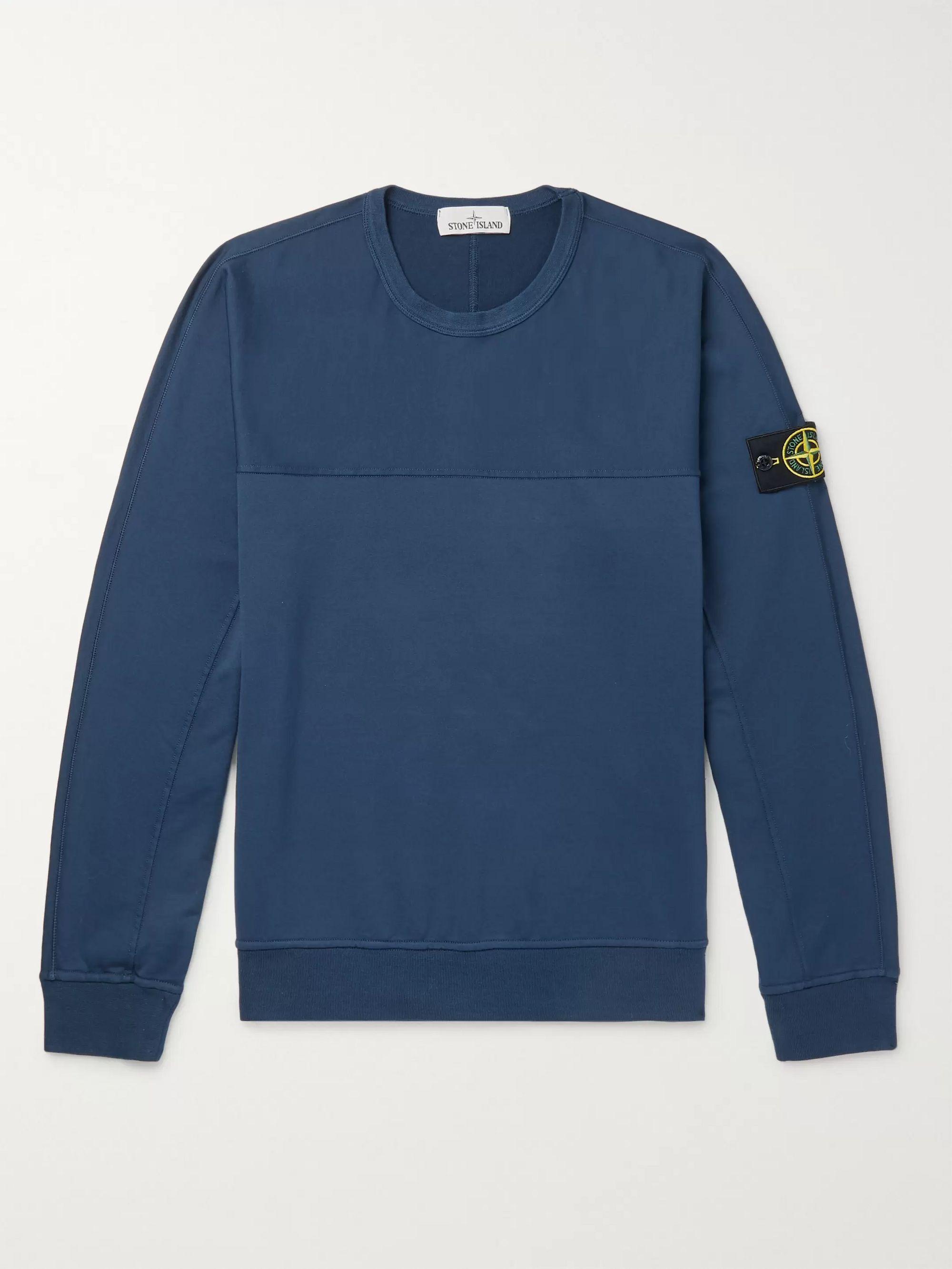 스톤 아일랜드 Stone Island Navy Logo-Appliqued Garment-Dyed Loopback Stretch-Cotton Jersey Sweatshirt,Navy