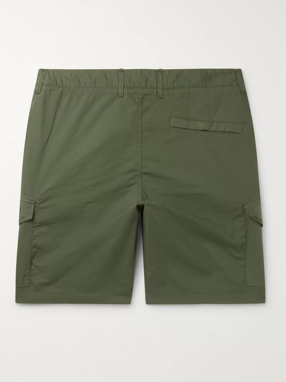Stone Island Logo-Appliquéd Garment-Dyed Cotton-Blend Twill Shorts