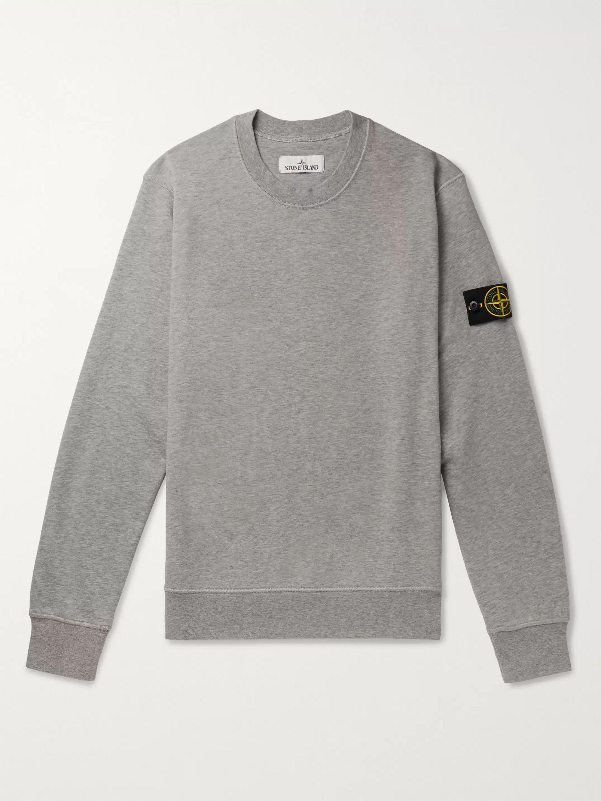 스톤 아일랜드 Stone Island Gray Logo-Appliqued Garment-Dyed Loopback Cotton-Jersey Sweatshirt,Gray