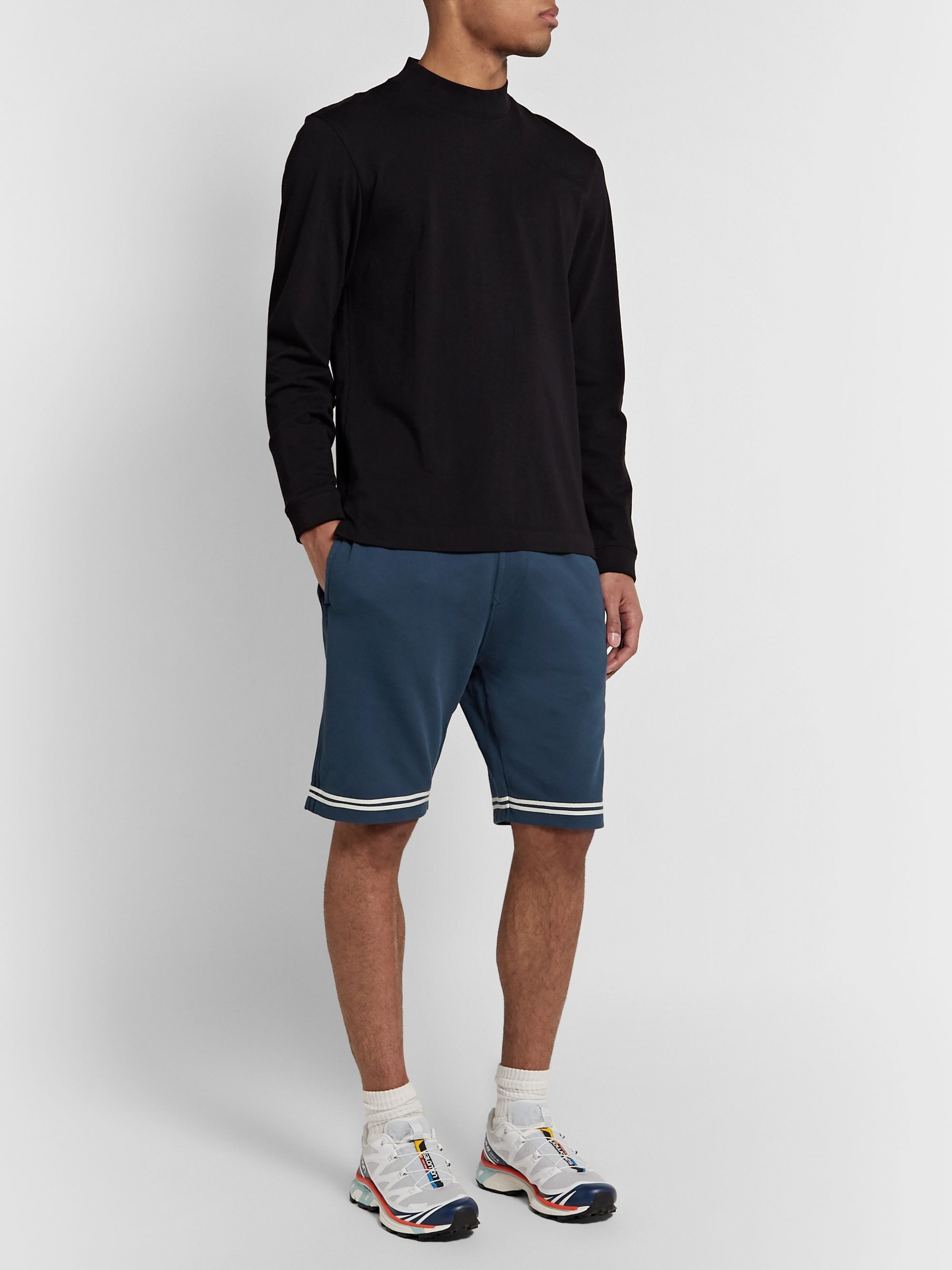 Stone Island Striped Fleece-Back Cotton-Jersey Shorts
