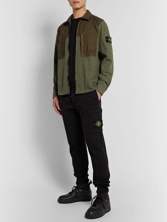 Stone Island Logo-Appliquéd Garment-Dyed Shell-Panelled Cotton-Twill Overshirt