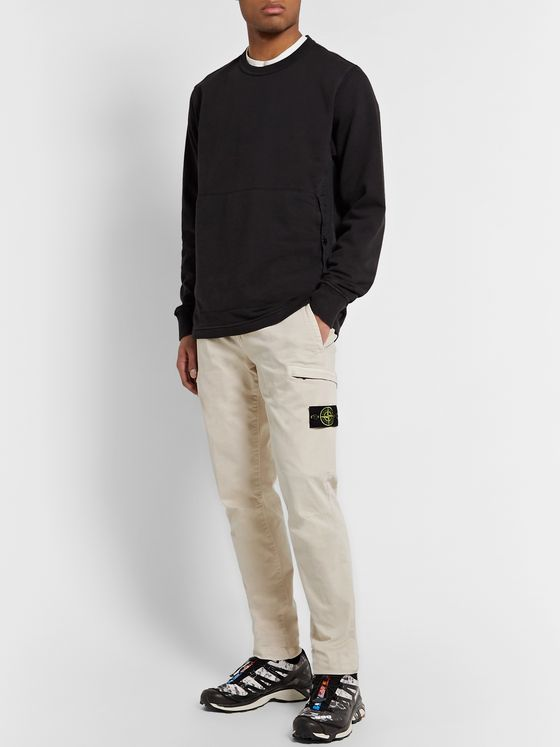 Stone Island Slim-Fit Tapered Garment-Dyed Stretch-Cotton Cargo Trousers