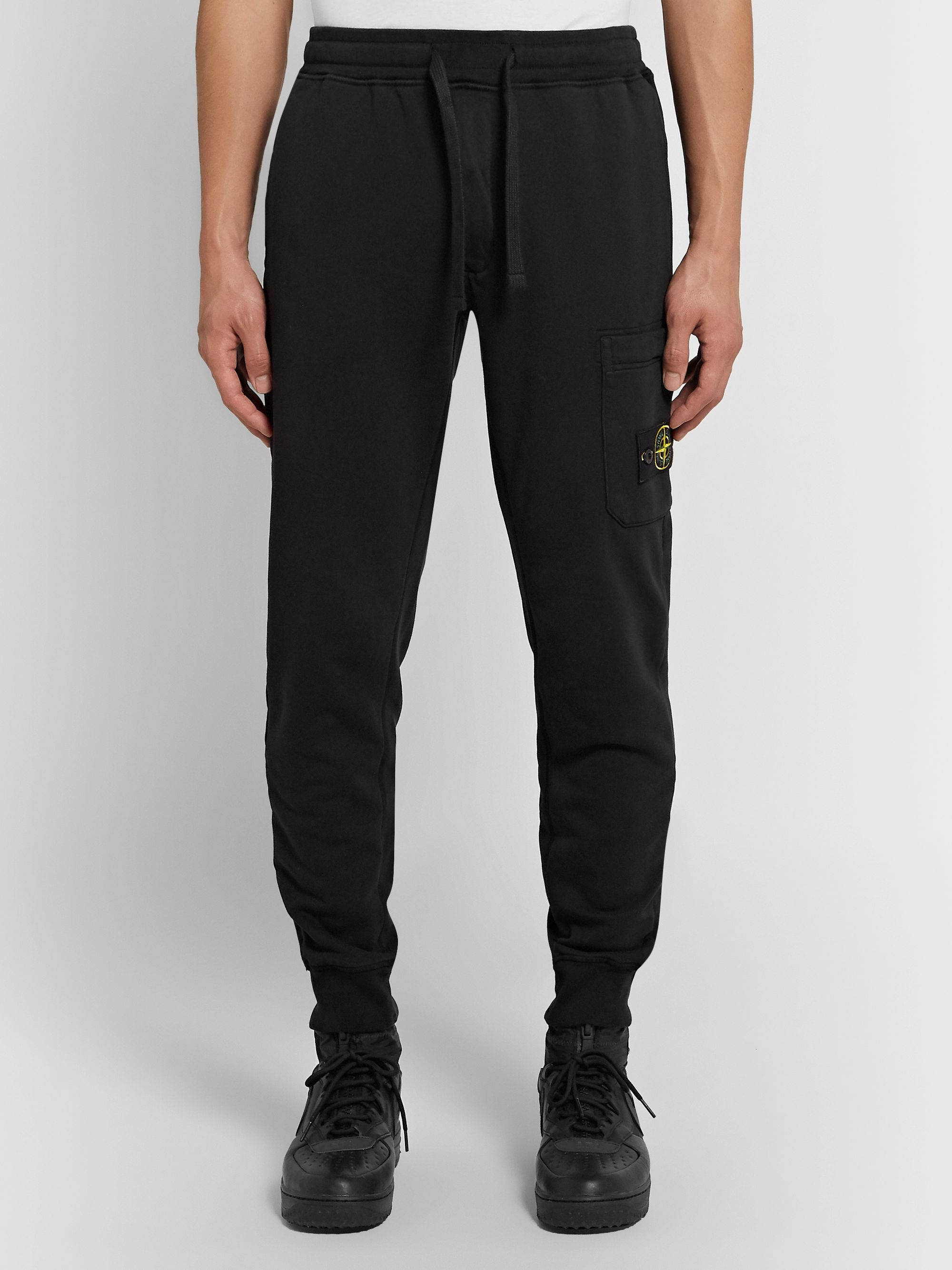 Stone Island Logo-Appliquéd Slim-Fit Tapered Loopback Cotton-Jersey Sweatpants